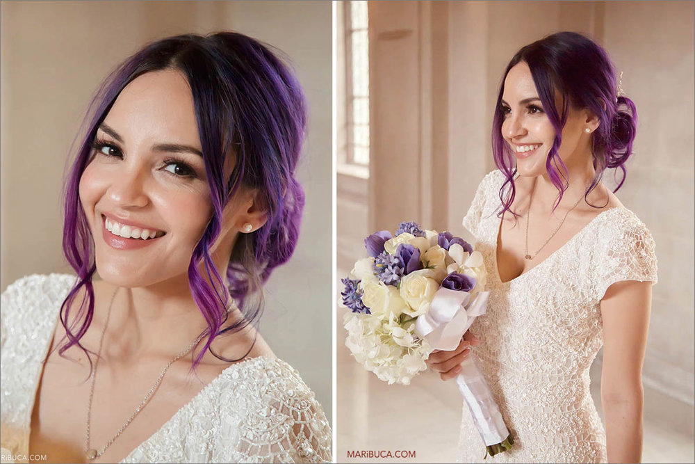 The portrait of the bride with beautiful purple hairs and gorgeous smile.