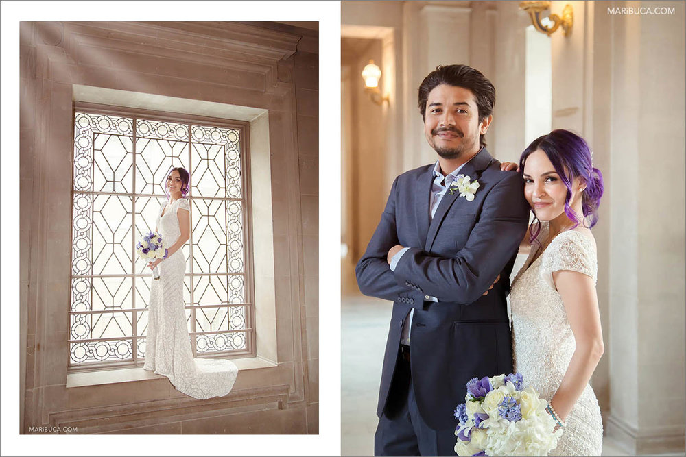 the bride is standing on the windowsill against the background of a huge window in the San Francisco City Hall. The bride and groom are positioningю