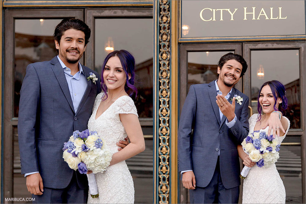 """The sign """"City Hall"""" in the San Francisco with amazing and happy newlyweds couple."""