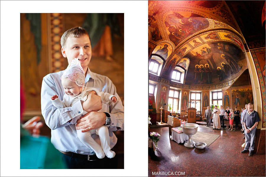 Baby girl with the day in the Orthodox Baptism chruch