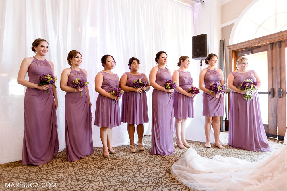 Bridesmaids during ceremony in the Vila Ragusa