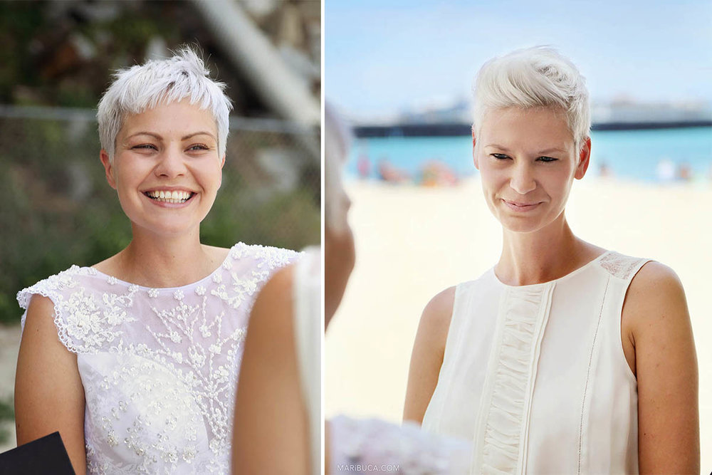 Portrait of two brides during wedding ceremony in the Cowell Beach, Santa Cruz