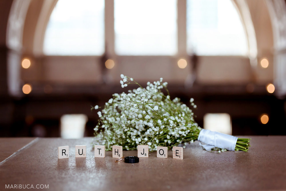 wedding details: wood letters with names, wedding bouquet in San Francisco City Hall