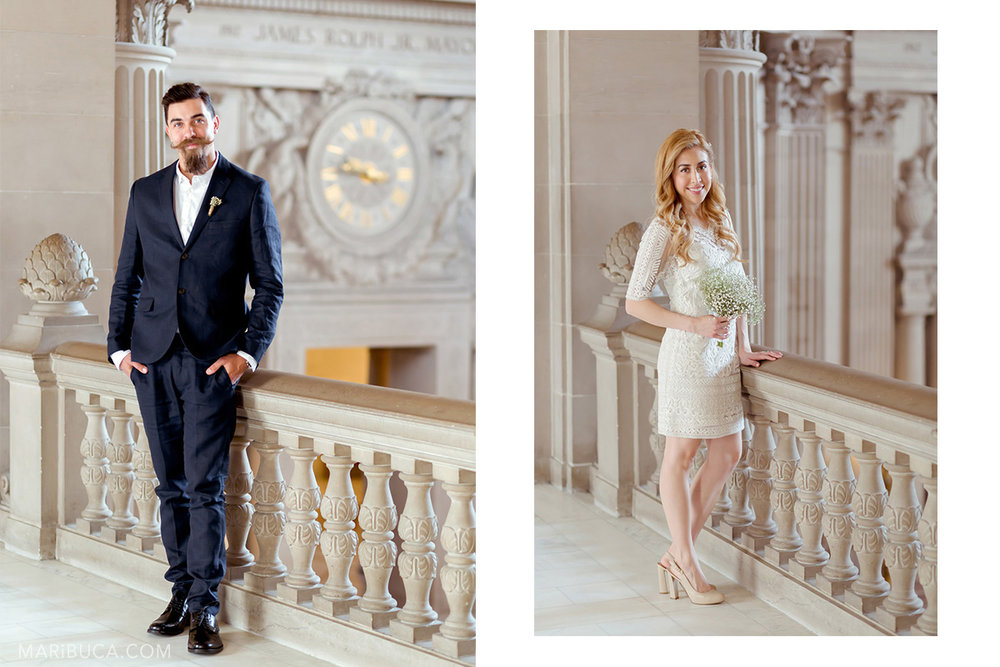 Groom has elegant dark blue suit and the bride has adorable white dress. They stand at 3rd floor in the SF City Hall