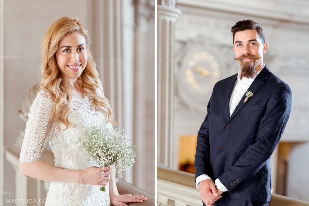 Portrait of the bride with long blond hair and the groom with moustache and beer in the SF CIty Hall.