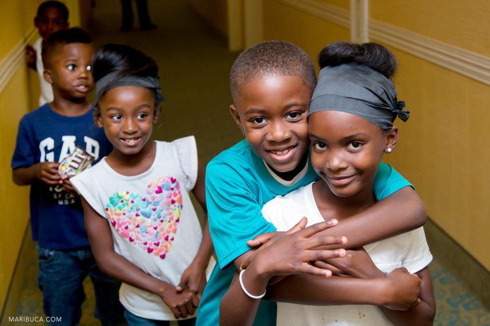 Kids in the Hampton inn hotel before the wedding ceremony