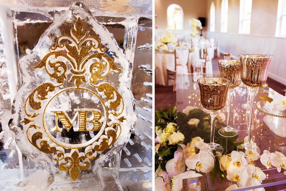 Reception detail decoration: Gorgeous ice bar with golden initial bride and groom sign and golden wine glasses in the table .