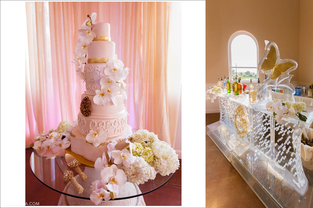 Four levels of huge wedding cake with white flowers and adorable ice bar with golden butterfly as decoration.