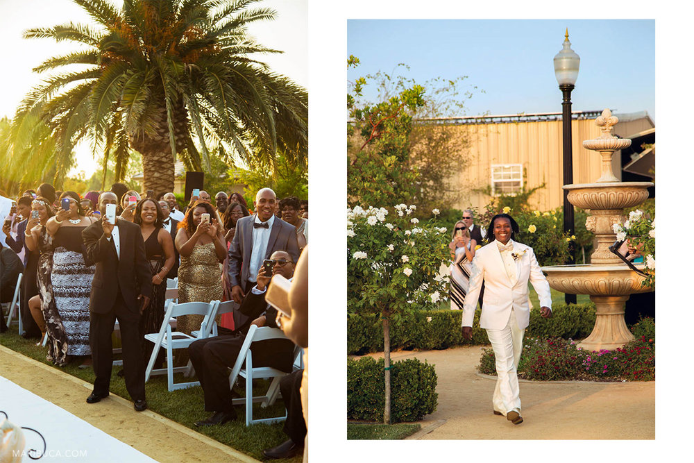 guests take pictures of the groom who walks down the aisle in the sunny summer day in the Brentwood.