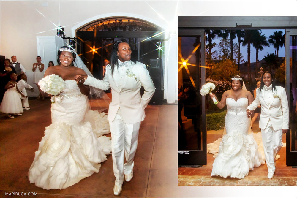 The groom and the bride are walking down the aisle to reception in the Brentwood.