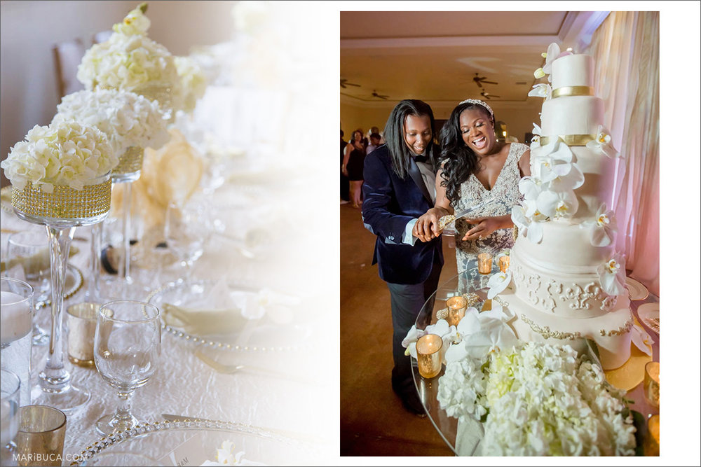 White flower decoration for the wedding reception. The groom and bride cut the big white cake with 5 levels  in the wedding reception.