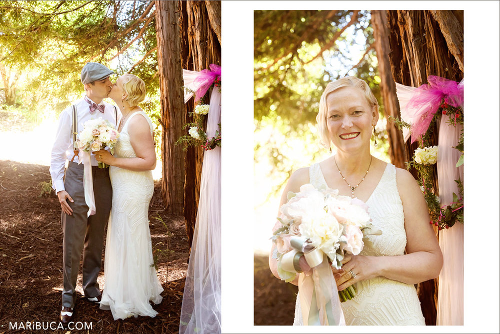 Newlyweds are hiding and kissing each other in the sunny day in the wood, Saratoga. The bride's portrait with big happy smile.