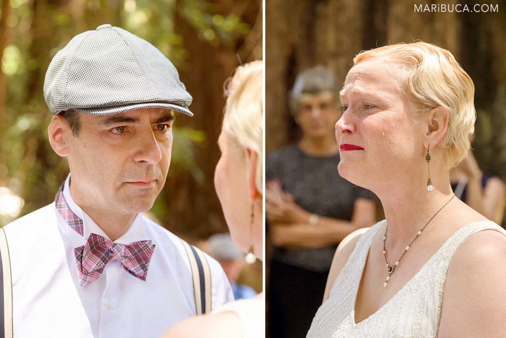The bride and the groom are looking each other and have tears in their eyes, checks and they are so happy. Just married!.