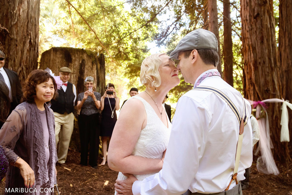 The bride excited and has overwhelming emotions before ceremony in Los Gatos