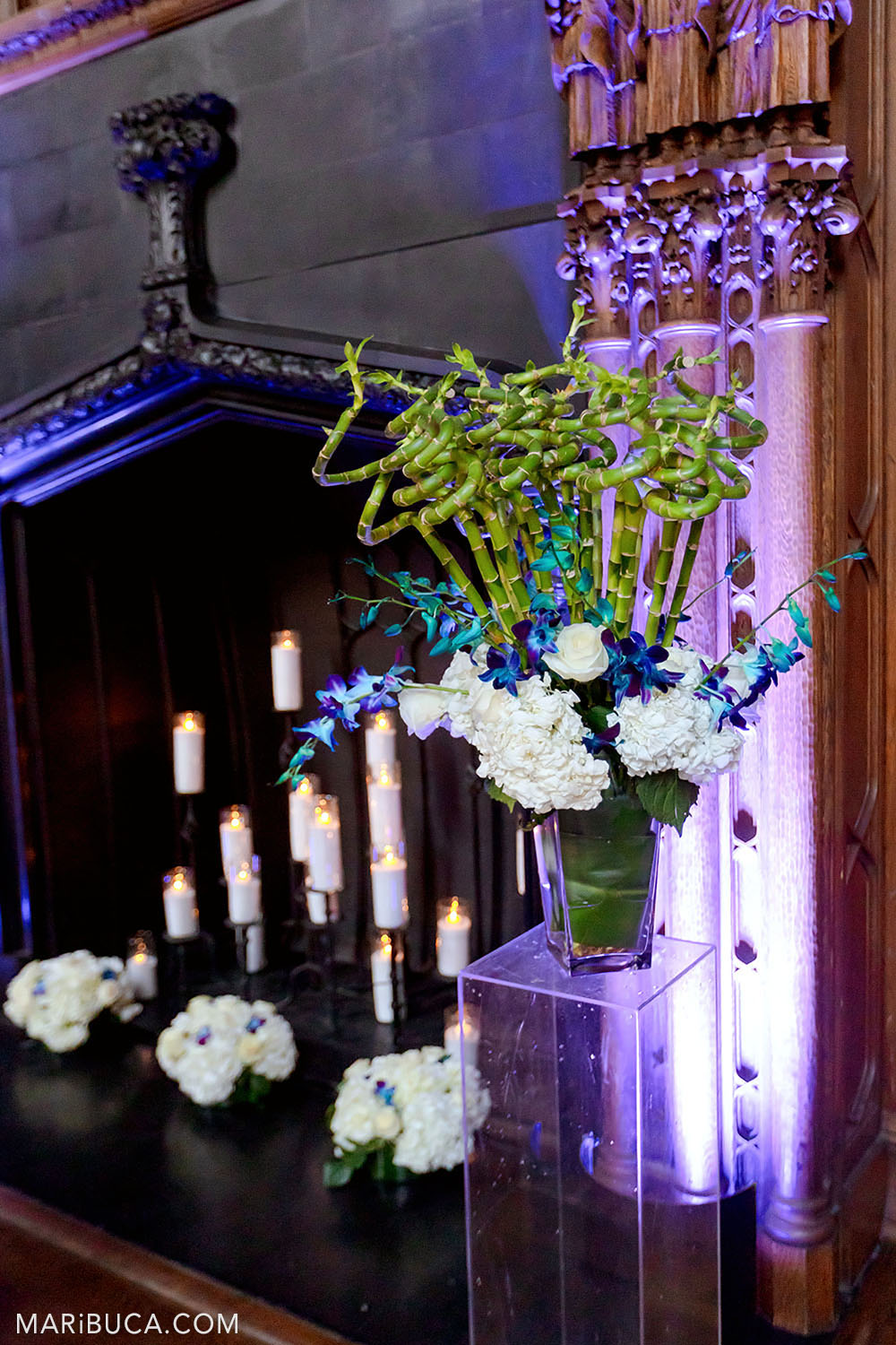 Decoration in the Great Hall, Kohl Mansion such as bouquet flower, burning candles