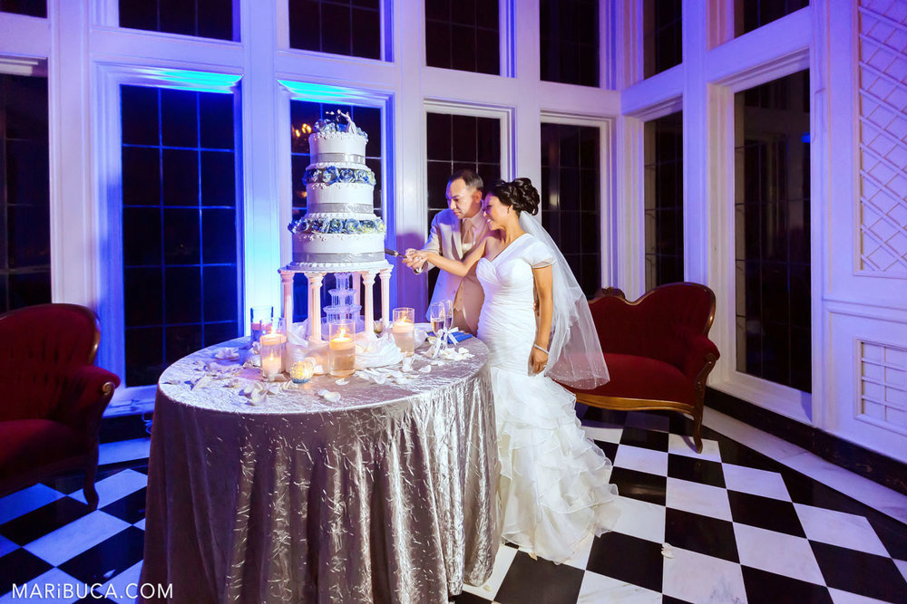 the bride and groom cut the first cake surrounded by a violet blue light in the Morning Room, Kohl Mansion, Burlingame
