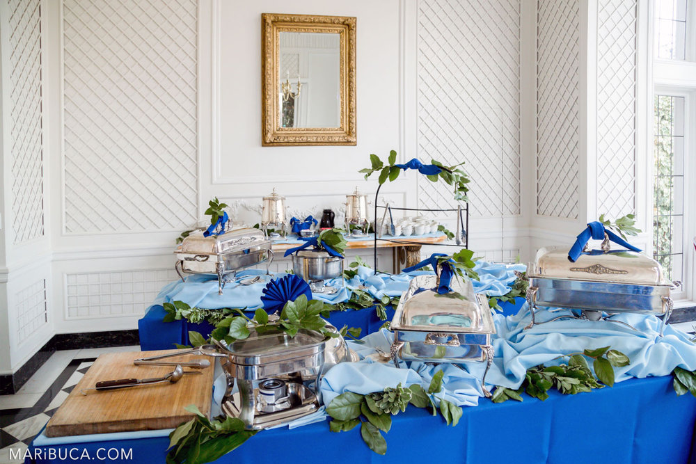 Ready to appetizers for the guests in the wedding in the Morning Room, Kohl Mansion, Burlingame
