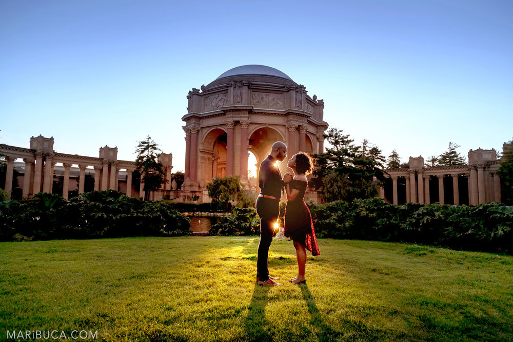 Palace of Fine Arts Engagement Session during sunset with adorable couple