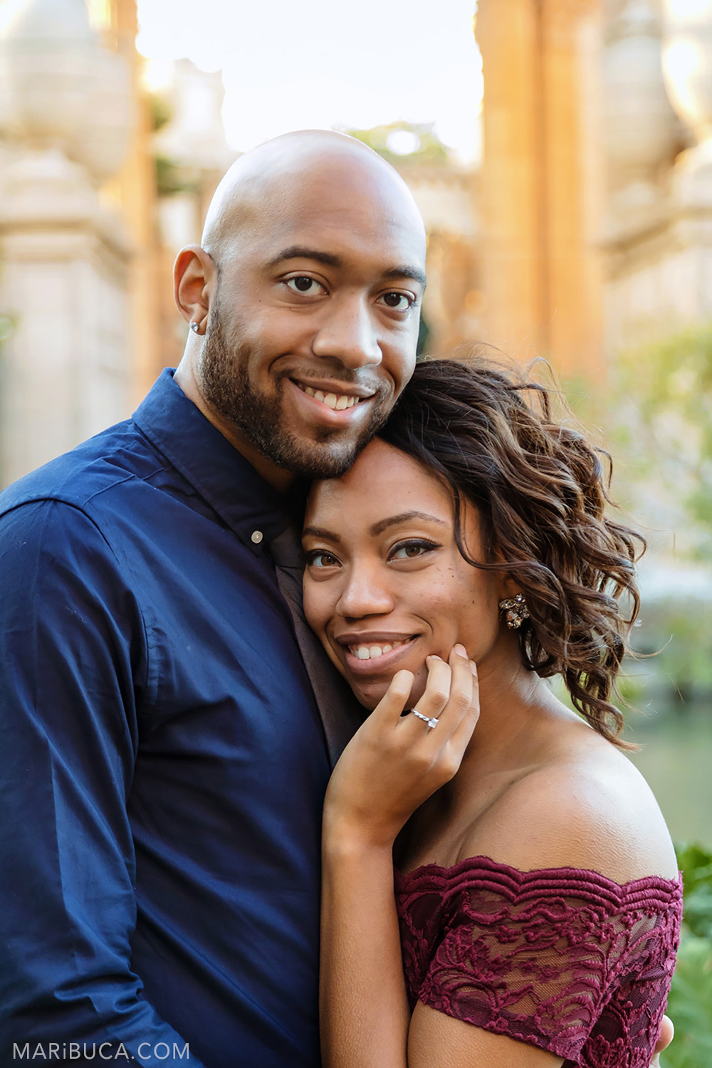 Portrait of the fiancee and fiance and they smile