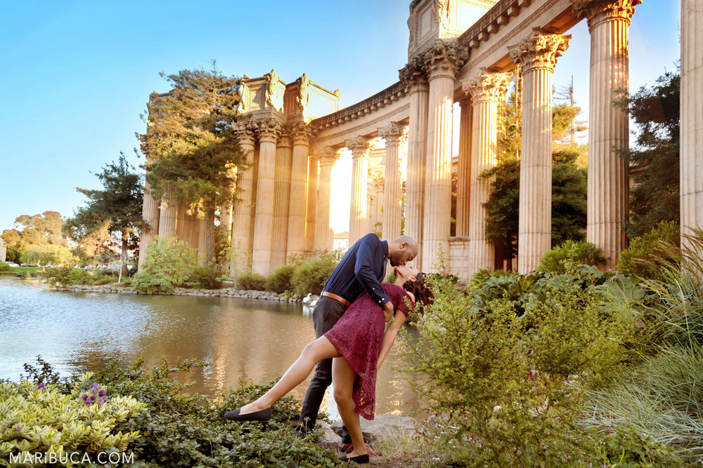 Lovely couple enjoy each other in the San Francisco Engagement Palace of Fine Art