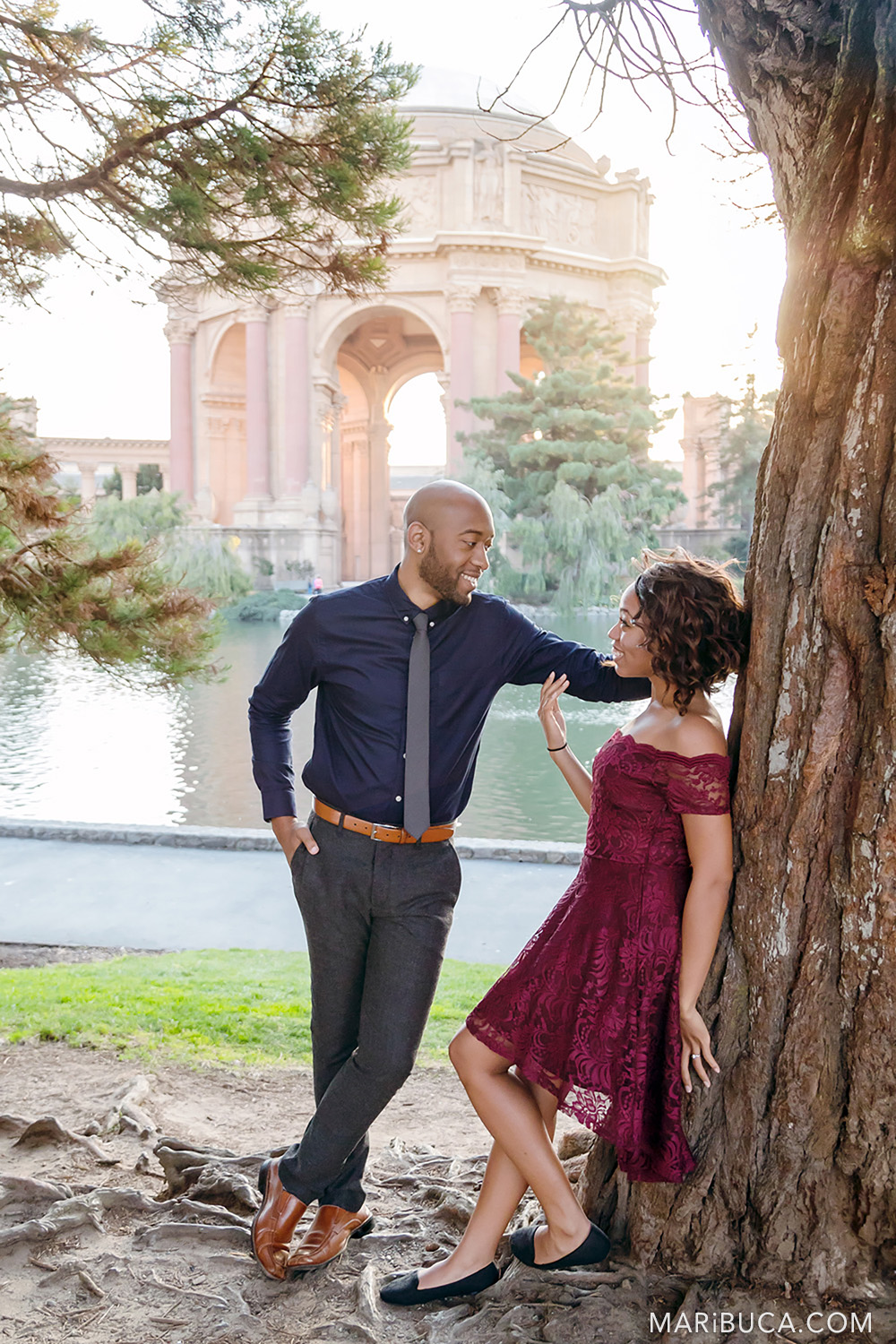 Couple are hanging out in the San Francisco Engagement Palace of Fine Art