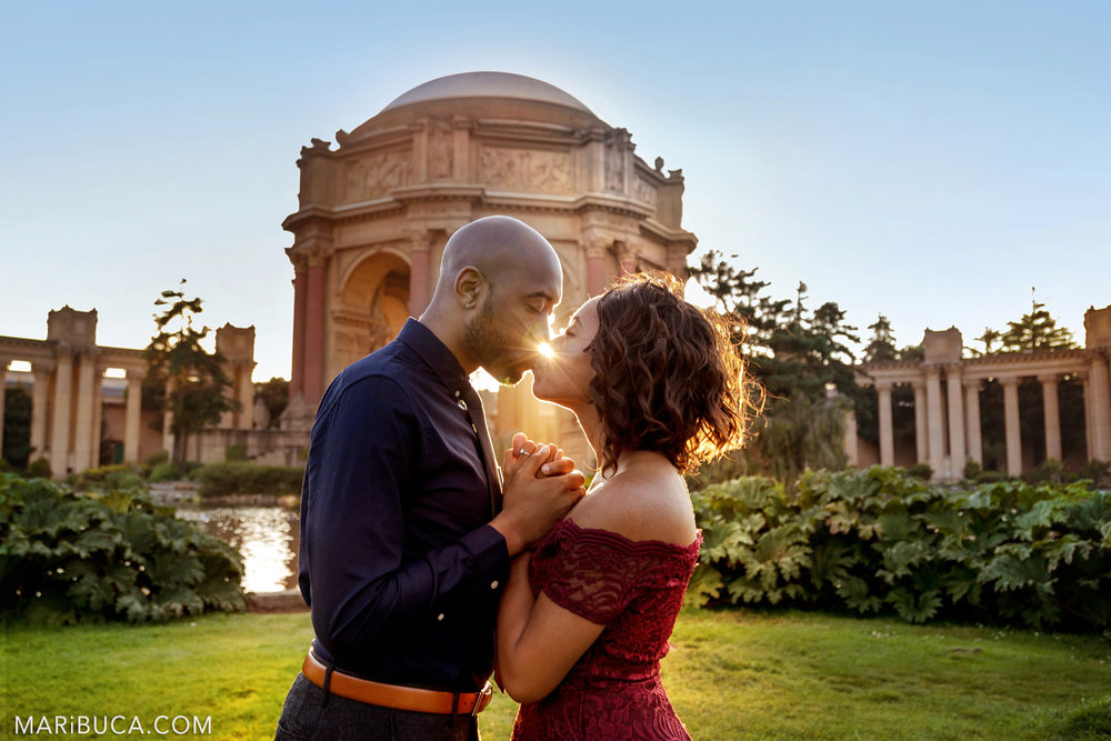 Adorable couple and beautiful sunset in the San Francisco Engagement Palace of Fine Art