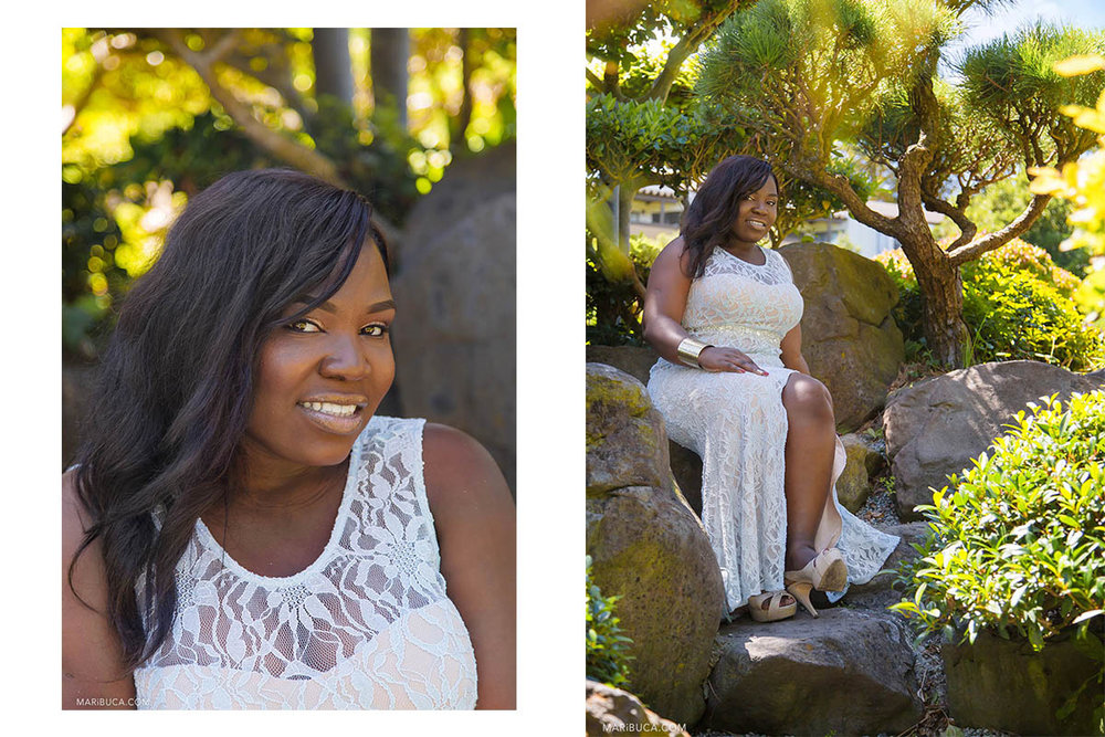Portrait of the bride with white dress, she is smiling and sitting in the stones in the Hayward Japanese Garden.