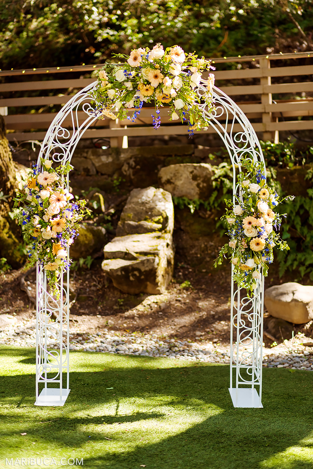 Wedding arch for the ceremony in the Saratoga Springs Venue