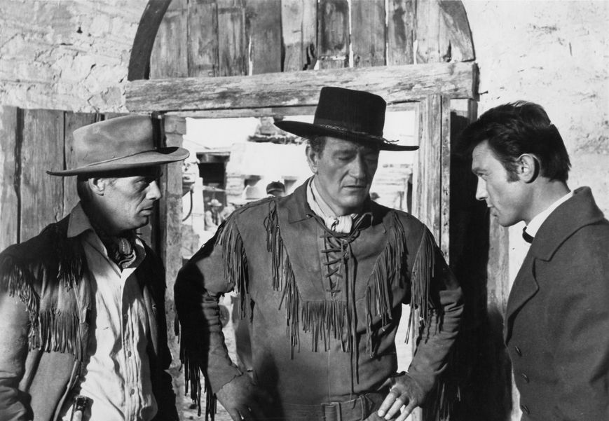 A scene from  The Alamo  (1960) featuring Richard Widmark, John Wayne, and Laurence Harvey. Photo courtesy of Batjac Productions.