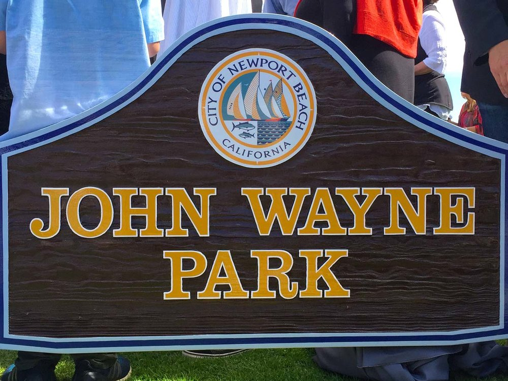 The new sign for John Wayne Park, dedicated in John Wayne's honor on what would have been his 110th birthday on May 26th, 2017. Photo courtesy of John Wayne Enterprises