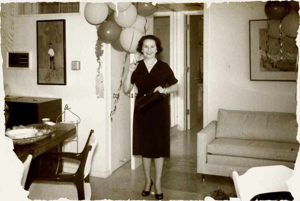 Mary St. John in John Wayne's home in Encino, California. Photo courtesy of John Wayne Enterprises