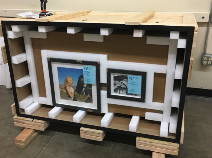 Custom boxes were built to ensure the framed images made the trip unharmed. Photo courtesy of John Wayne Enterprises