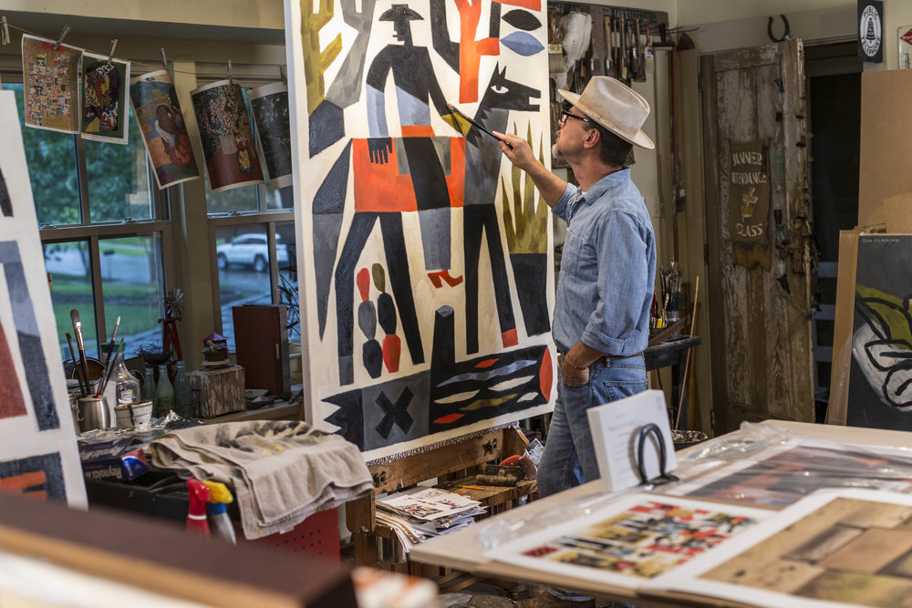Graphic artist turned painter Jon Flaming in his Texas studio. Photo courtesy of Stewart Cohen