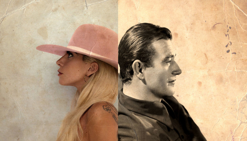 The cover of Lady Gaga's album  Joanne  (2016), photo courtesy of Interscope Records. An image of John Wayne from the 1930's, photo courtesy of John Wayne Enterprises.
