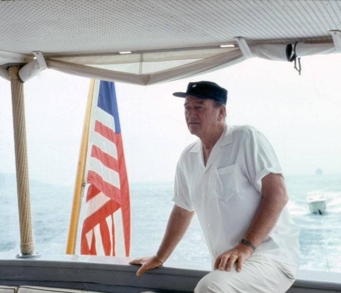 John Wayne aboard his boat the  Wild Goose  in the 1960s. Photo courtesy of John Wayne Enterprises