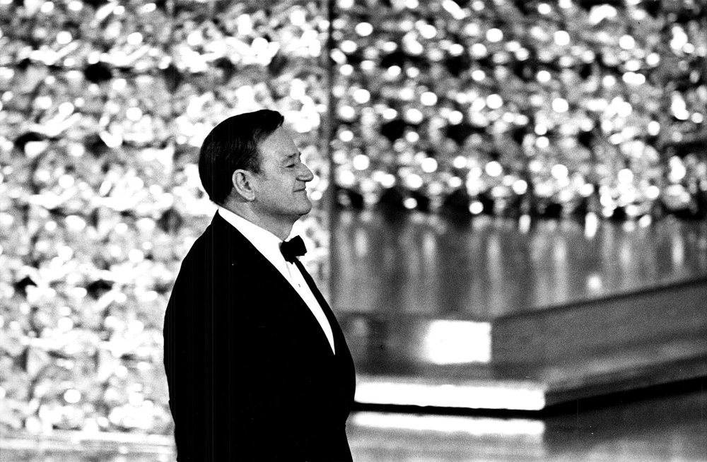 John Wayne walking onstage to accept his Oscar for his performance in  True Grit  (1969). Photo courtesy of the Academy of Motion Picture Arts and Sciences