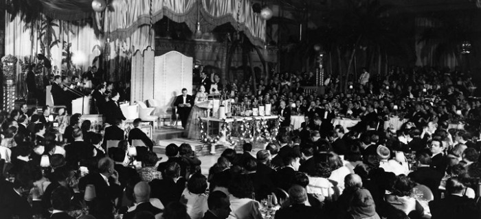 Image from the very first Academy Award ceremony at the Hollywood Roosevelt Hotel on May 16, 1929. Photo courtesy of the Academy of Motion Picture Arts and Sciences