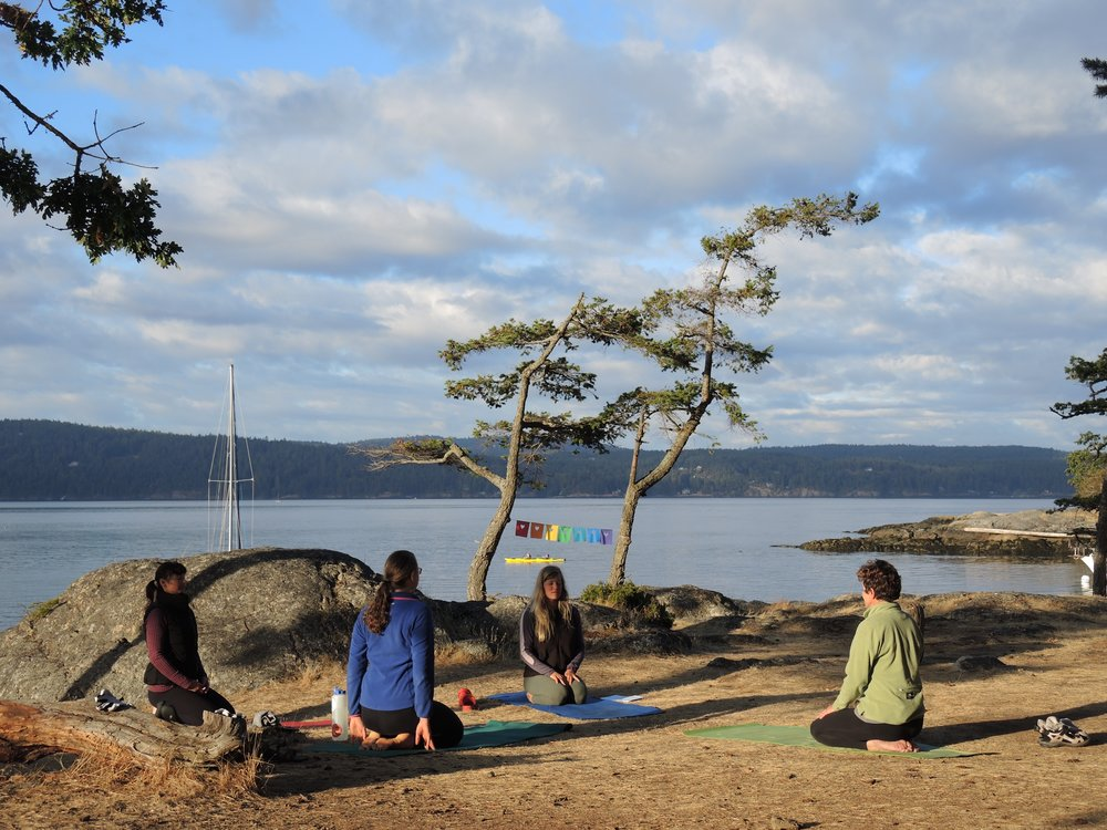 Yoga at our campsite on Jones Island.