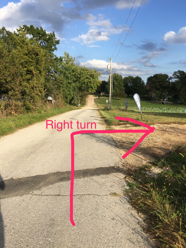 Street View - Turn Right when you go over the hill on 1st Street and before the road turns to gravel.
