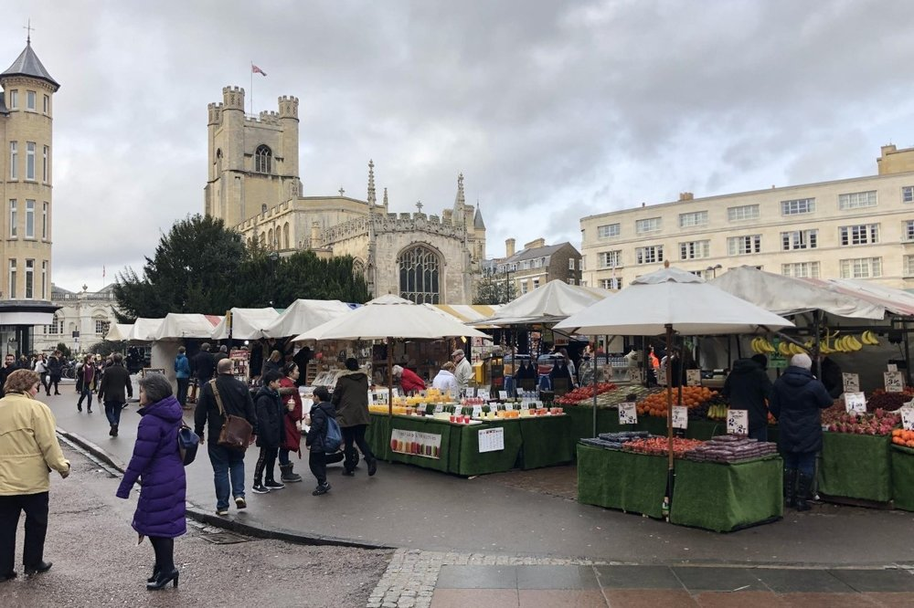 The market and Great St Mary's, Cambridge