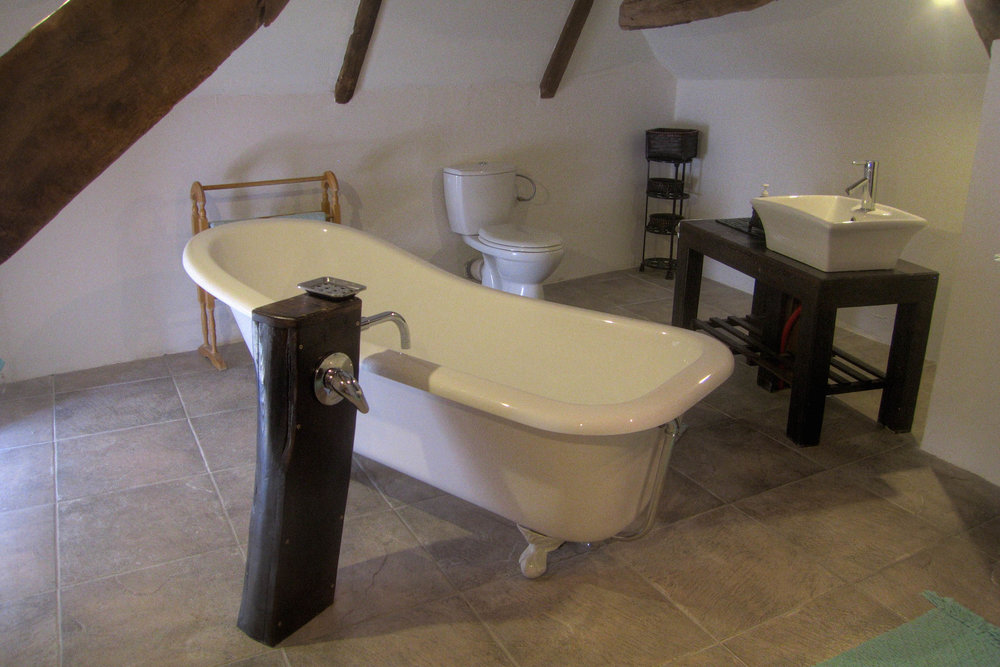 The roll-top bath is perfect for a relaxing in