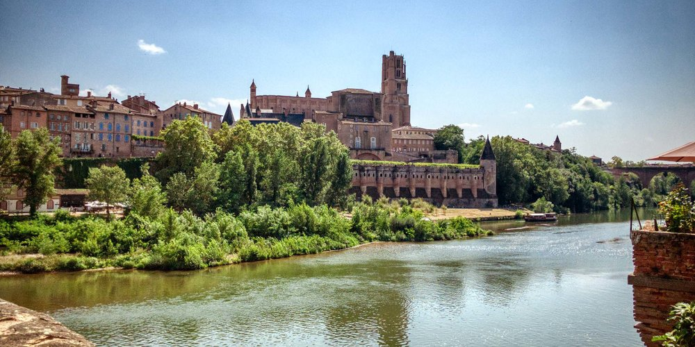 Albi Cathedral from across the river on a summers day
