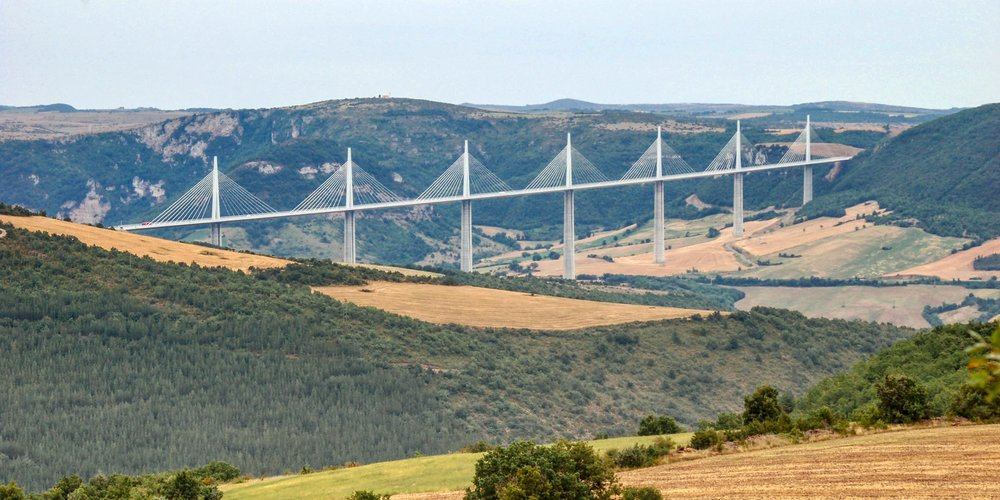 The Millau Viaduct cuts across valley