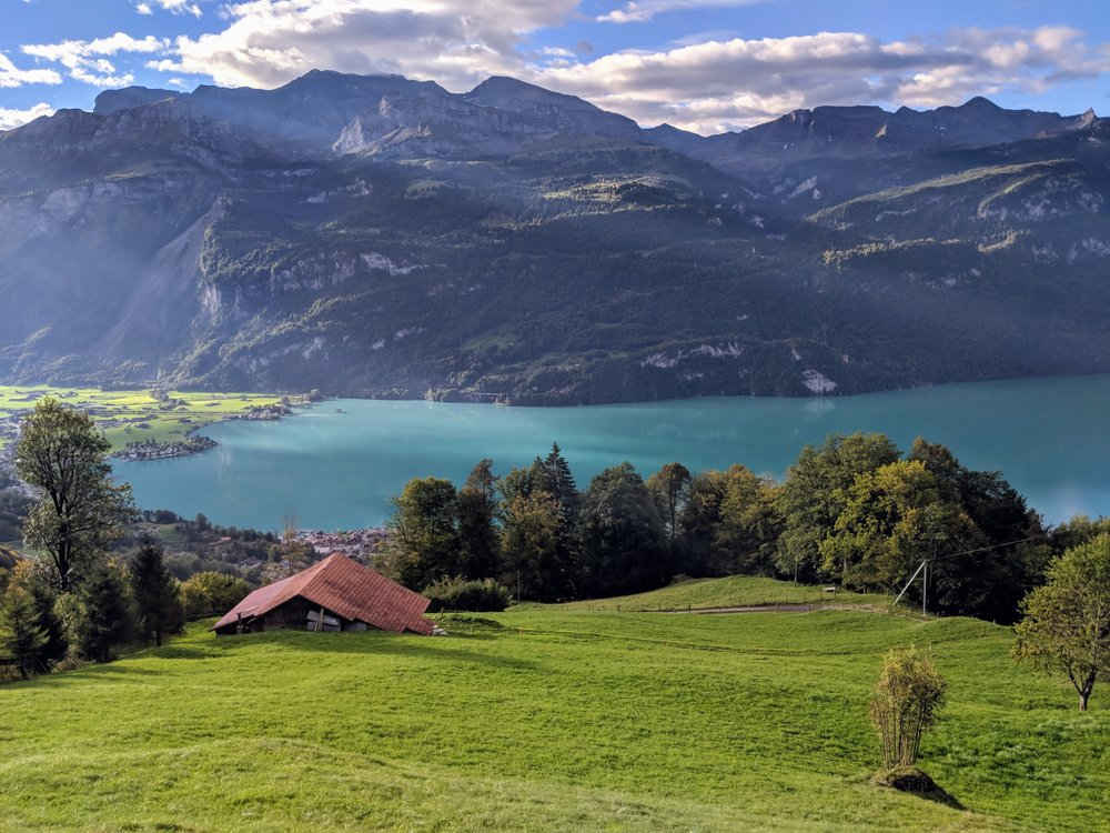 View of Lake Brienz from the ride on the Brienz Rothorn Railway