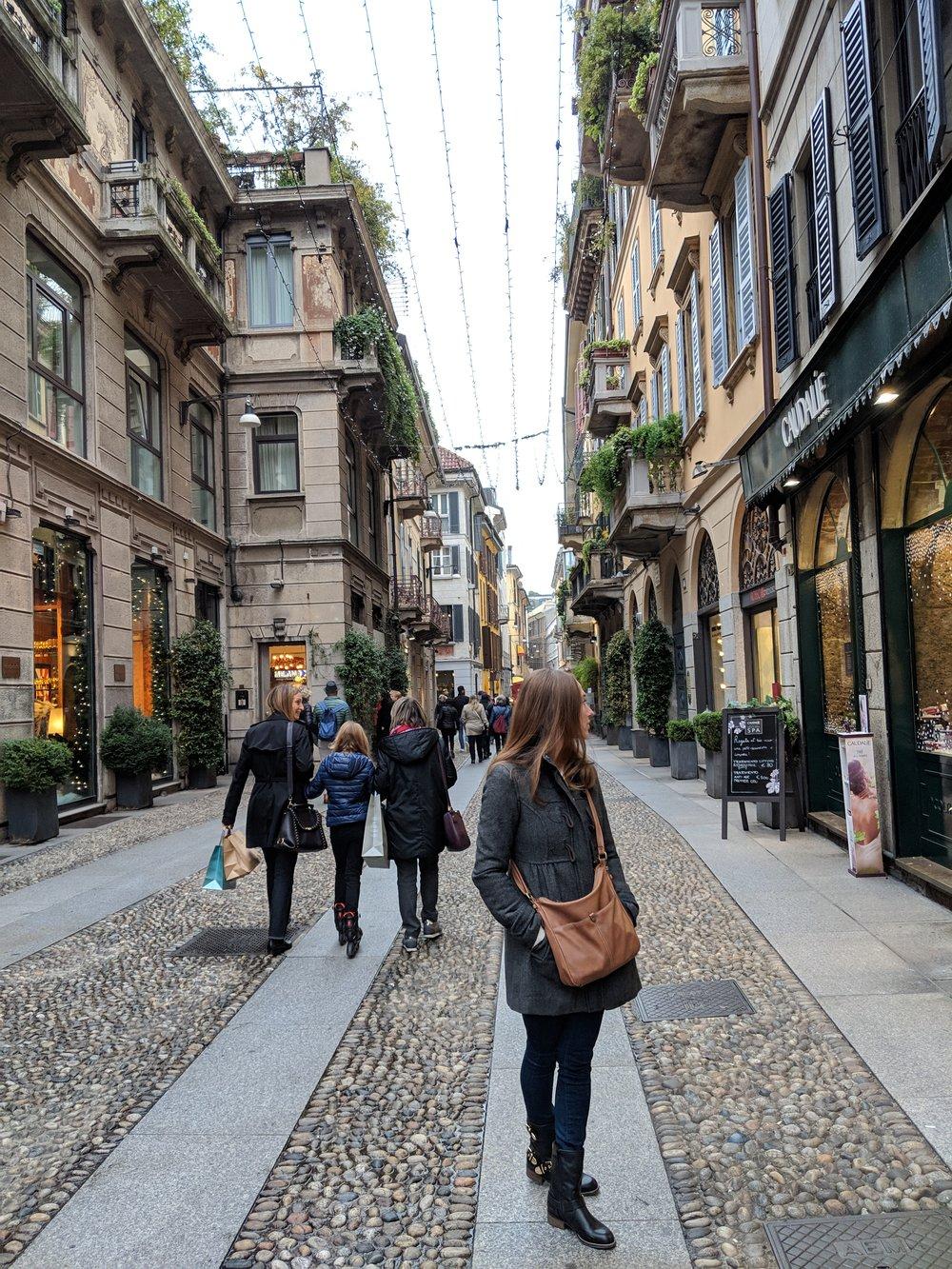 Window shopping in Brera District of Milan