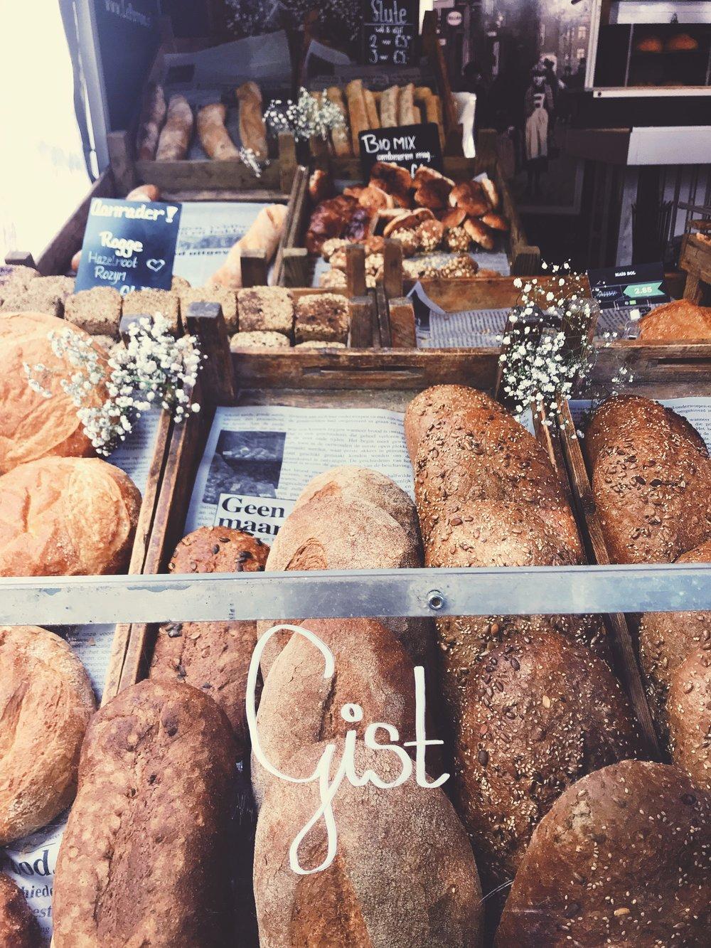 Fresh bread at noordermarkt organic farmers market