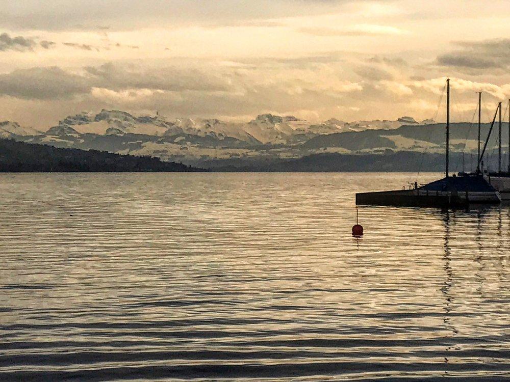 Lake Zurich at sunset near Wollishofen