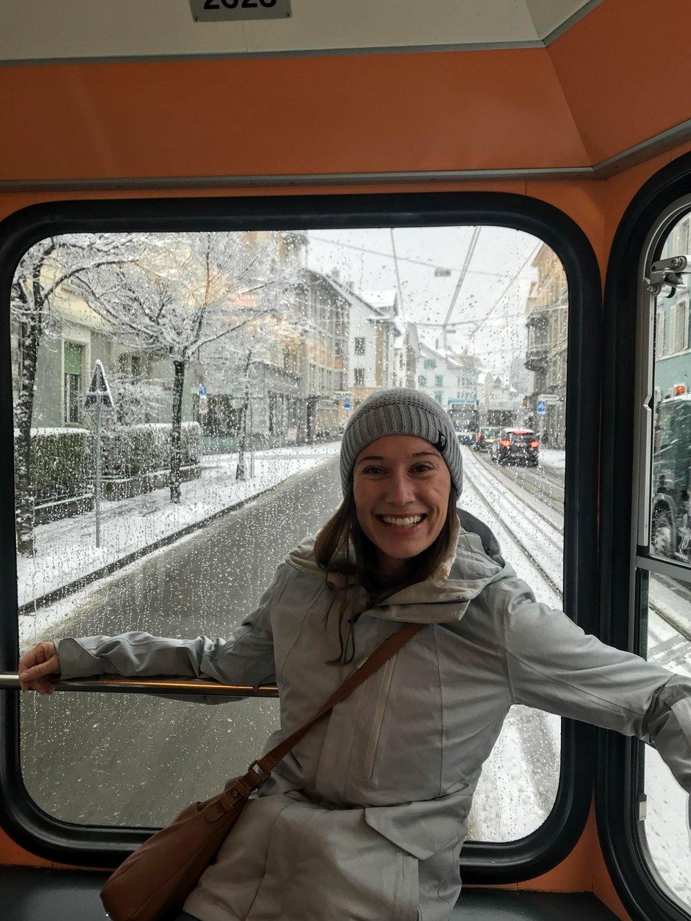 Snowy ride on the Zurich city tram