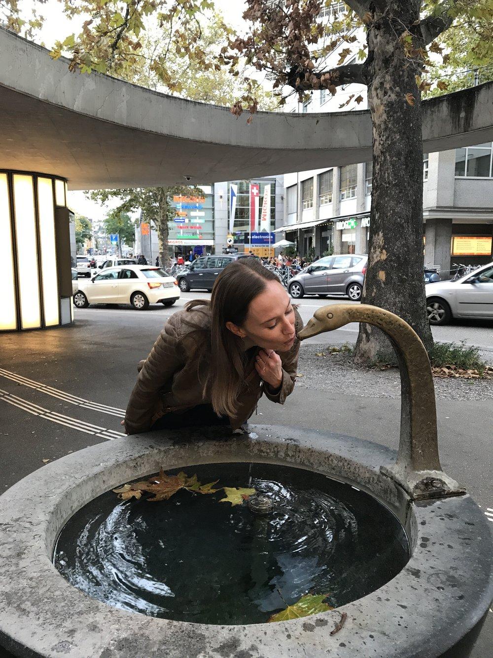 Public water fountain in Zurich