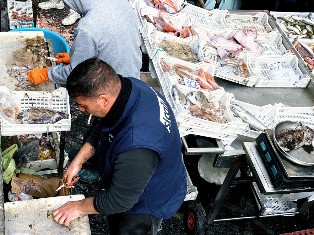 Fish stands at the fish market in Catania, Sicily